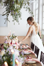 Mismatched china floral wedding table