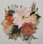 A fall wedding bouquet of dahlias became this 12 x 12 botanical collage.