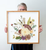 Have a protea in your bouquet?  This 20 x 20 botanical collage started out with a truly stunning and unusual bouquet.